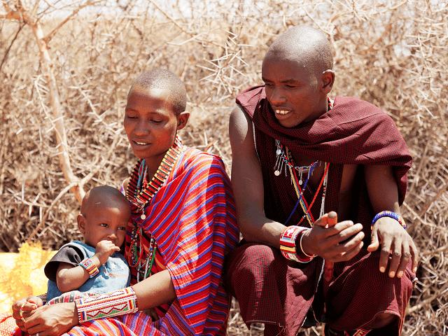 Masajská rodina v Keni